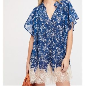 Free People Marigold Floral Lace Tunic